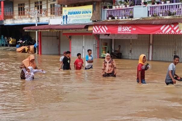 Ilustrasi banjir di Rokan Hulu. Foto: int