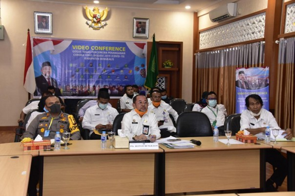 Telekomference Plh Bupati Bengkalis dan jajaran bersama Gubernur Riau/ist