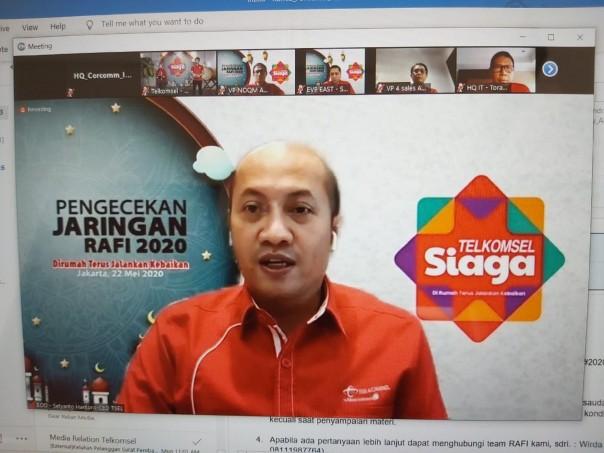 Direktur Utama Telkomsel Setyanto Hantoro saat memaparkan kesiapan jaringan dan layanan Telkomsel di pengujung periode Ramadhan dan Idul Fitri (RAFI 2020) bertajuk