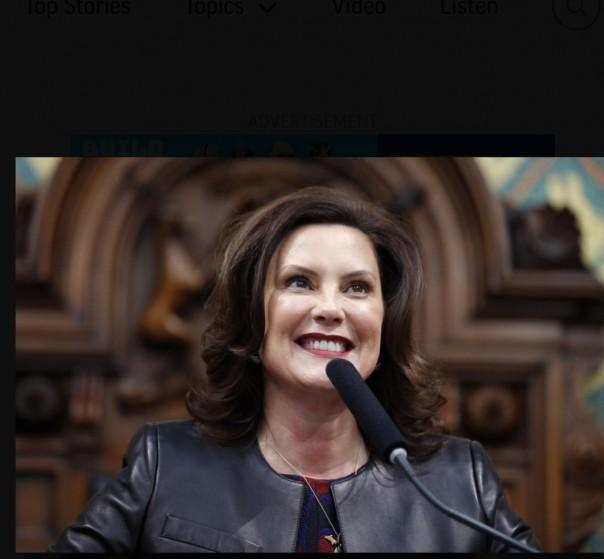 Gubernur Michigan Gretchen Whitmer menyampaikan alamat kenegaraannya pada sesi gabungan DPR dan Senat, di Capitol negara bagian di Lansing, Mich pada 29 Januari lalu (AP )