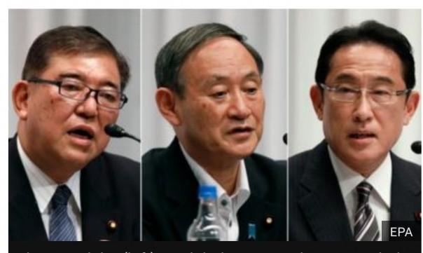 Shigeru Ishiba (kiri), Yoshihide Suga dan Fumio Kishida