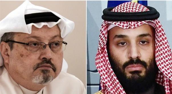 Jamal Kashoggi (kiri) dan pangeran mahkota Arab Saudi Mohammad bin Salman.