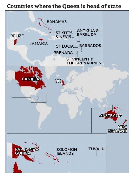 Peta  negara-negara kolonial Inggris.(BBC)