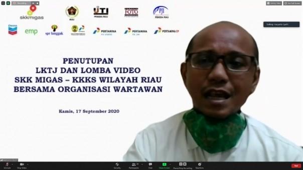 PJs Kepala Perwakilan SKK Migas Sumbagut, Haryanto Syafri,saat memberikan sambutan penutupan LKTJ dan Videografi Jurnalistik secara virtual