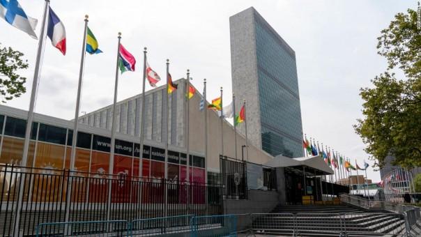 Barikade logam berjejer di pintu masuk utama yang ditutup ke markas besar Perserikatan Bangsa-Bangsa, Jumat, 18 September 2020, di New York.