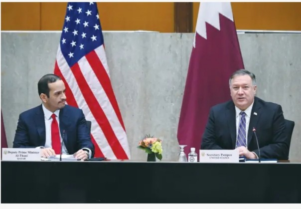 US SECRETARY of State Mike Pompeo welcomes Qatar's Deputy Prime Minister Mohammed bin Abdulrahman Al Thani to the third annual US-Qatar Strategic Dialogue in Washington on September 14.(FOTO/REUTERS)