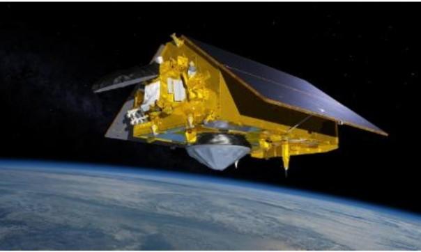 Ilustrasi ini menunjukkan pesawat luar angkasa Sentinel-6 Michael Freilich sedang mengorbit di atas Bumi.