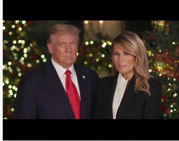 Donal TRump dan Ibu Negara Mengucapkan Salam Natal bagi rakyat Amerika