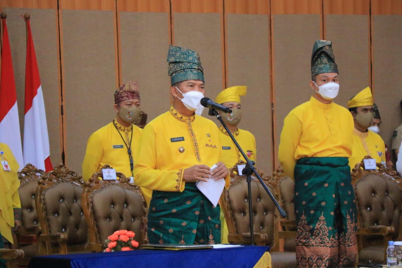 Walikota Pekanbaru Dr H Firdaus ST, MT saat HUT ke 237 Kota Pekanbaru, Rabu (23/6/2021). (FOTO Diskominfo)