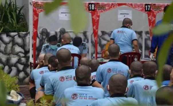 Para tahanan baru yang dititipkan di Rutan Sialang Bungkuk. Foto: int/ant