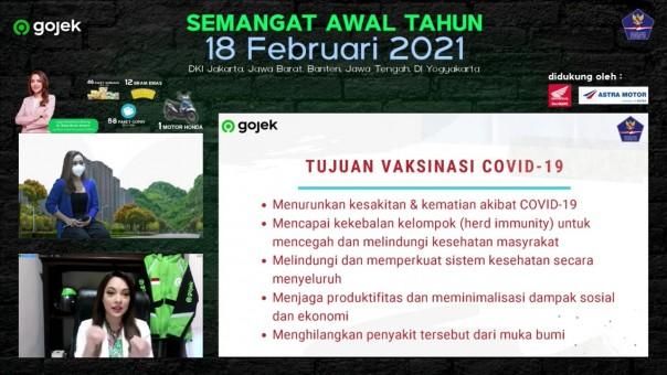Vitual Sosialisasi  Prokes J3K dan Manfaat Vaksin Mitar Gojek di 5 Provinsi, Jumat (19/2/2021).(Foto/Gojek)