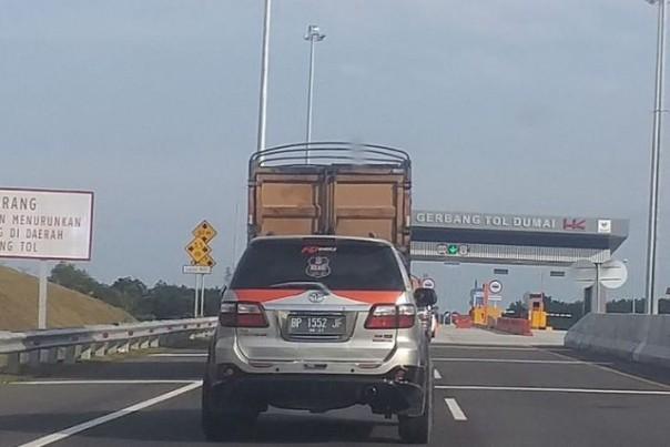 Suasana di Jalan Tol Pekanbaru-Dumai (ilustrasi). Foto: int