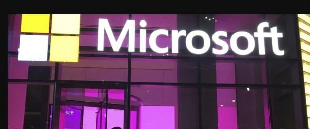 Papan.Nama di sebuah kantor.Microsoft yang berbasis di AS.